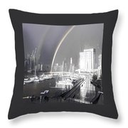 Docklands Double Rainbow Throw Pillow