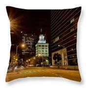 Downtown Tampa Florida Skyline At Night Throw Pillow