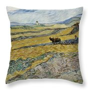 Enclosed Field With Ploughman Throw Pillow