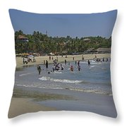 Enjoying A Day At The Beach Throw Pillow