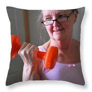 Female Workout. Throw Pillow