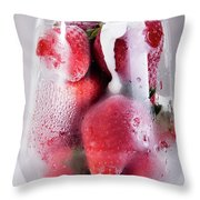 Frozen Strawberry With Sour Cream In Glass Throw Pillow