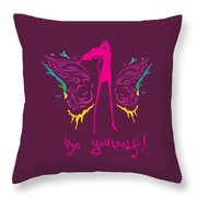 Girl With Angel Wings Throw Pillow