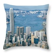 Hong Kong Harbour View From The Peak Throw Pillow