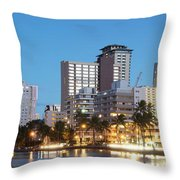 Honolulu Skyline Panorama Throw Pillow