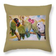 Flygende Lammet     Productions          5 Lovebirds Sitting On A Twig Throw Pillow
