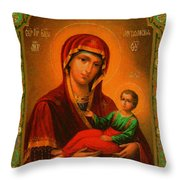 Madonna Enthroned Christian Art Throw Pillow