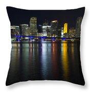 Miami Downtown Skyline Throw Pillow