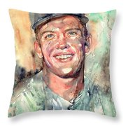 Mickey Mantle Portrait Throw Pillow