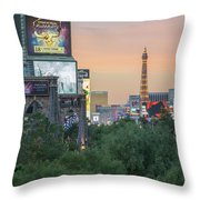 november 2017 Las Vegas, Nevada - evening shot of eiffel tower a Throw Pillow