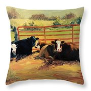 5 O Clock Cows Throw Pillow