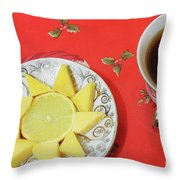 On The Eve Of Christmas. Tea Drinking With Cheese. Throw Pillow