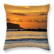 Orange Sunrise Seascape Throw Pillow