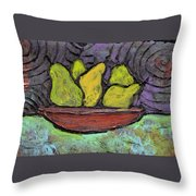 5 Pears In A Copper Bowl Throw Pillow