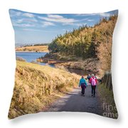 Pendle Hill Walk, North Yorkshire, Uk Throw Pillow