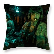 Pilots Sitting In The Cockpit Throw Pillow