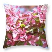 Pink Cherry Flowers Throw Pillow