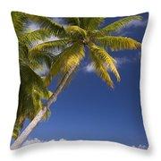 Polynesian Beach With Palms Throw Pillow