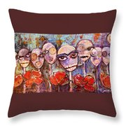 5 Poppies For The Dead Throw Pillow