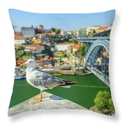 Porto Skyline Seagull Throw Pillow