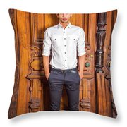 Portrait Of Young American Businessman Throw Pillow