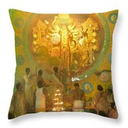 Priest Praying To Goddess Durga Durga Puja Festival Kolkata India Throw Pillow