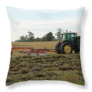 Raking Hay Throw Pillow