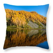 Reflections On Water, Autumn Panorama From Mountain Lake Throw Pillow
