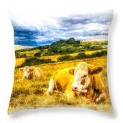 Resting Cows Art Throw Pillow