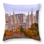 Salt Lake City Lds Temple Throw Pillow