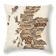 Scotland Typography Text Map Throw Pillow
