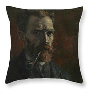 Self-portrait With Pipe Throw Pillow