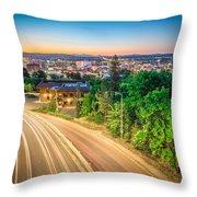 Spokane Washington City Skyline And Streets Throw Pillow
