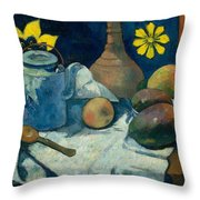 Still Life With Teapot And Fruit Throw Pillow