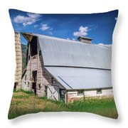 Summer Sunset With A Red Barn In Rural Montana And Rocky Mountai Throw Pillow