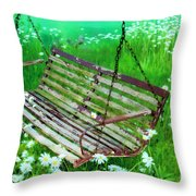Swing In The Daisies Throw Pillow