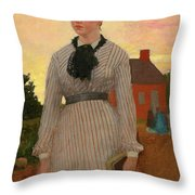 The Red School House Throw Pillow