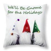 Three Holiday Gnomes 2a Throw Pillow