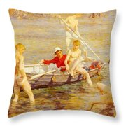 Tuke Henry Scott Ruby Gold And Malachite Henry Scott Tuke Throw Pillow