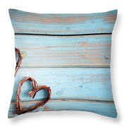 Two Hearts On Wooden Background Throw Pillow