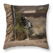 U.s. Soldier Conducts A Combat Training Throw Pillow