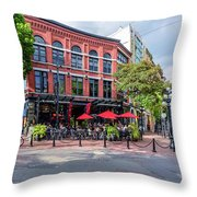 Outdoor Cafe In Gastown, Vancouver, British Columbia, Canada Throw Pillow