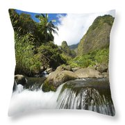 View Of Iao Needle Throw Pillow