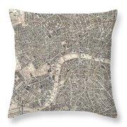 Vintage Map Of London England  Throw Pillow