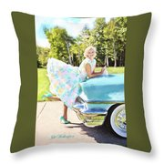 Vintage Val In The Turquoise Vintage Car Throw Pillow