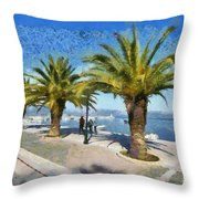 Walkway In Nafplio Town Throw Pillow