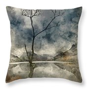 Watercolour Painting Of Beautiful Autumn Fall Landscape Image Of Throw Pillow