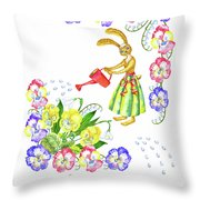 Welcome Spring. Rabbit And Flowers Throw Pillow