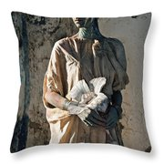 Woman In Bronze Statue Look With Patina Body Paint Throw Pillow