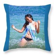 Woman On Beach Throw Pillow